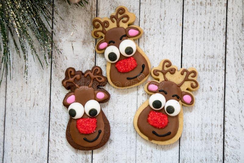 Le renne fait maison de Noël a décoré des biscuits de sucre, d'isolement sur le bcakground en bois photos stock