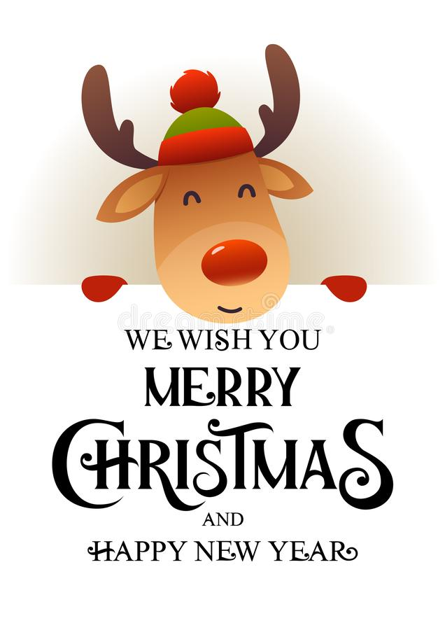 Le renne mignon se tient derrière la bannière de publicité d'enseigne avec le Joyeux Noël et la bonne année des textes illustration de vecteur