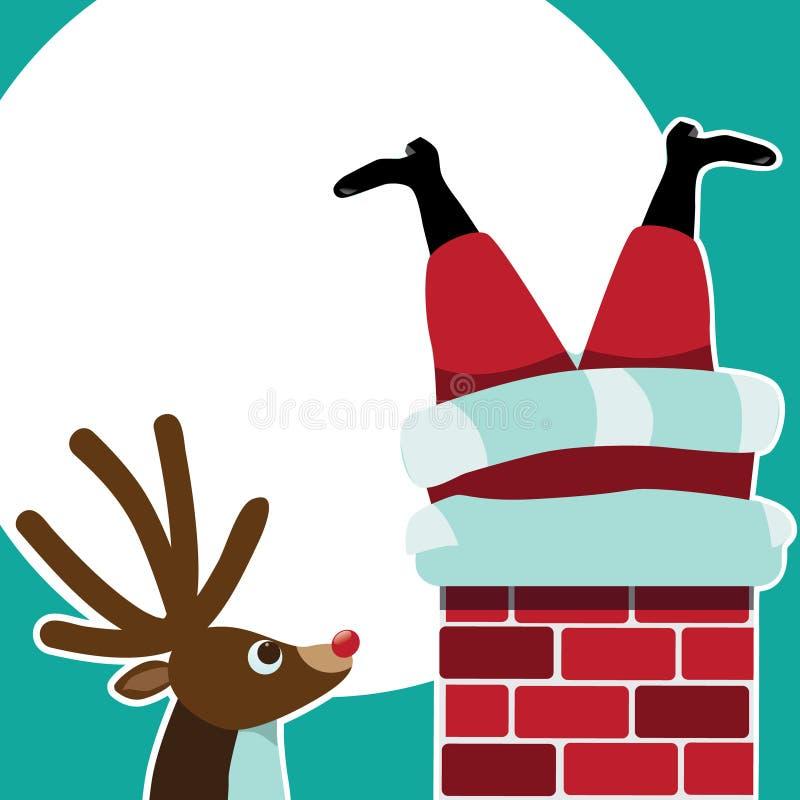 Le renne voit Santa Claus coincée dans la cheminée illustration stock