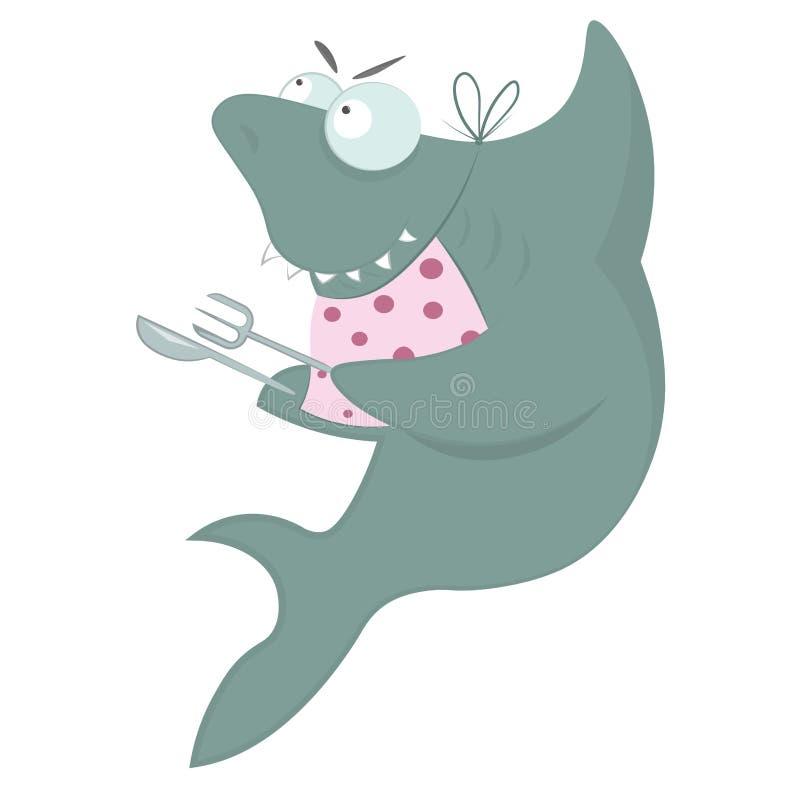 Le requin attend le dîner illustration de vecteur