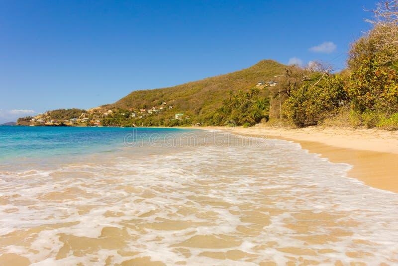 Le ressac à la plage d'amitié, Bequia image stock