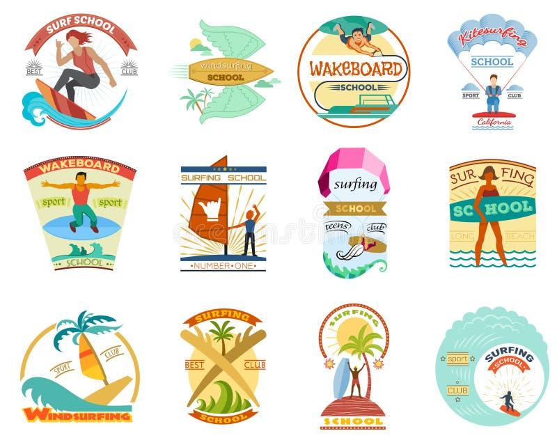Le ressac réglé surfant d'emblèmes de planche à voile de wakeboard de planche de surf de vecteur d'école badges des labels et le  illustration libre de droits