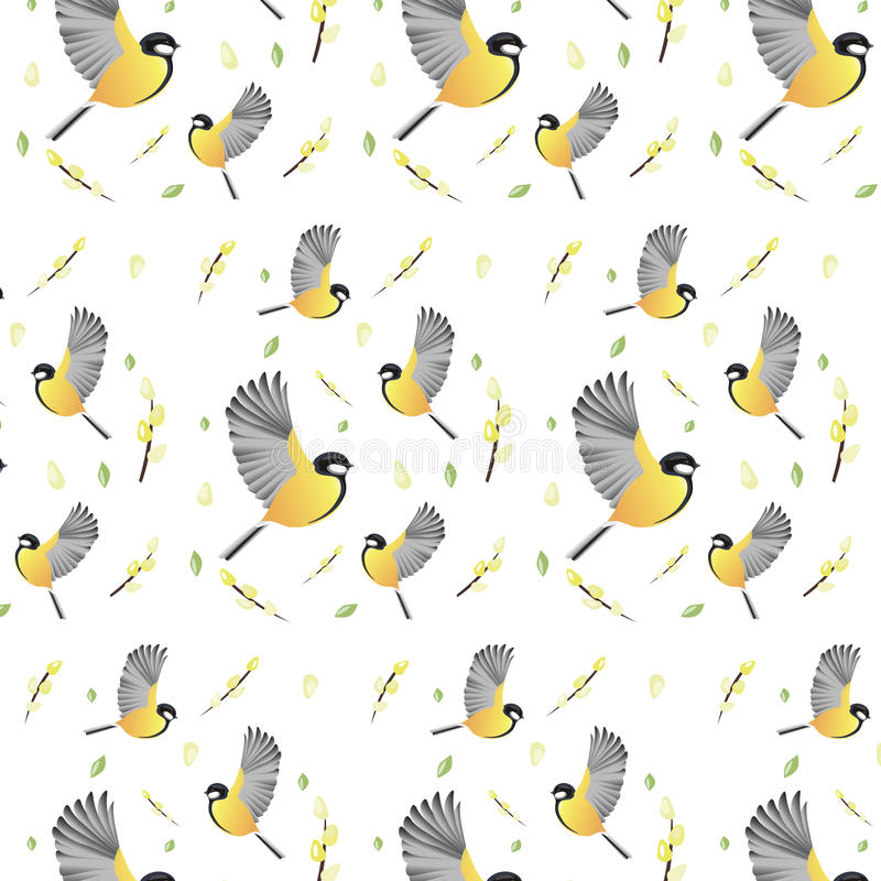 Le ressort de fond de papier peint fleurit des oiseaux images stock