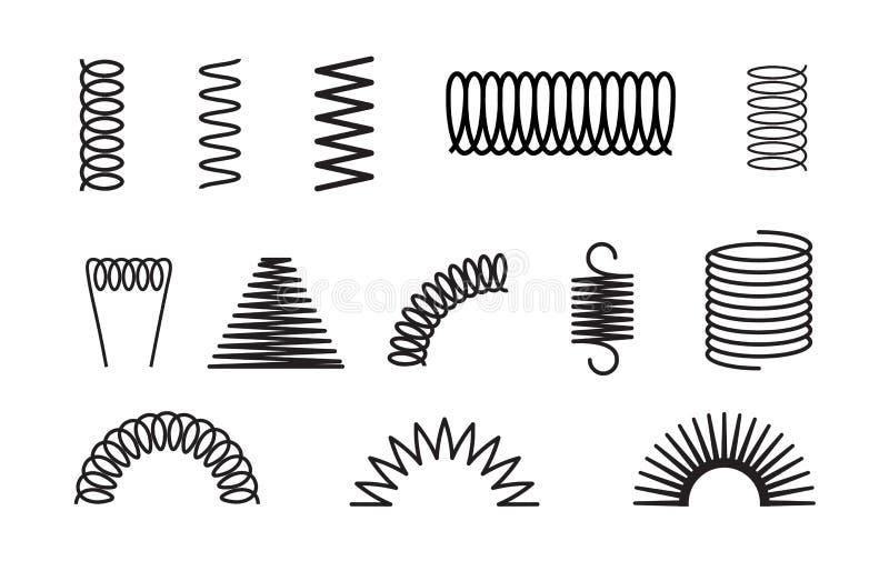 Le ressort en métal a placé l'icône flexible de bobine en spirale Conception élastique ou en acier de fil de ressort de rebond de illustration stock