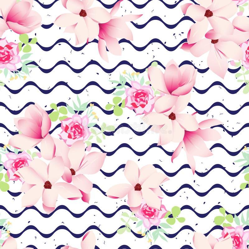 Le ressort mignon fleurit et la marine ondule la copie sans couture de vecteur illustration stock