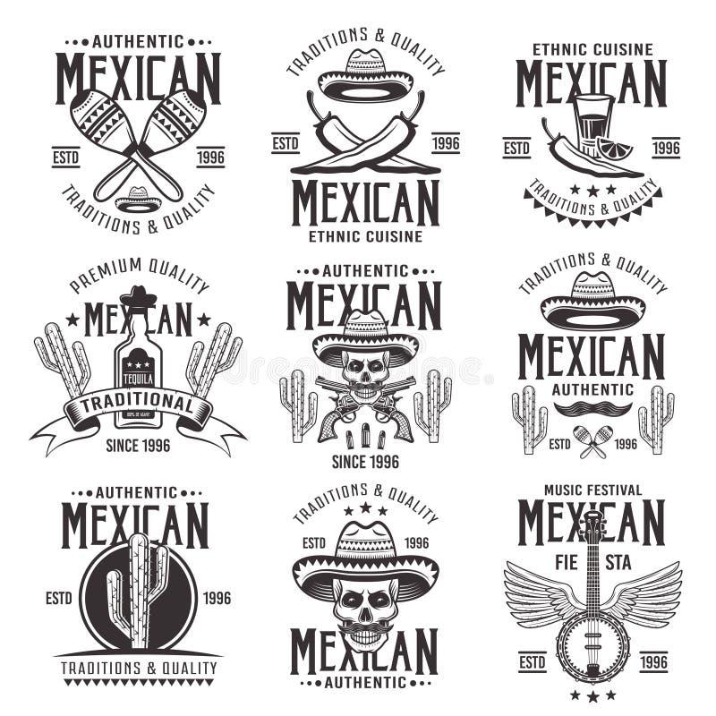 Le ressortissant mexicain attribue les emblèmes noirs de vecteur illustration de vecteur
