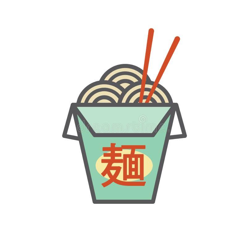 Le restaurant chinois ou asiatique sortent la boîte - dit le ` de nouilles de ` en caractères japonais illustration de vecteur