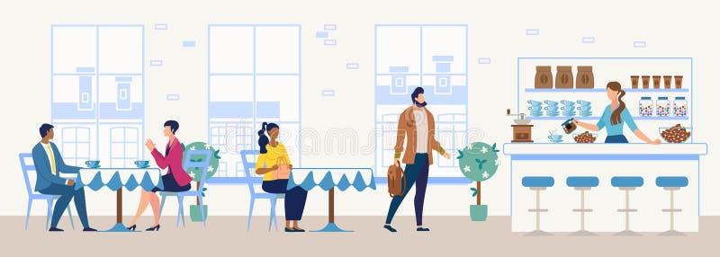 Le restaurant de ville ou l'appartement confortable de café dirigent intérieur illustration stock