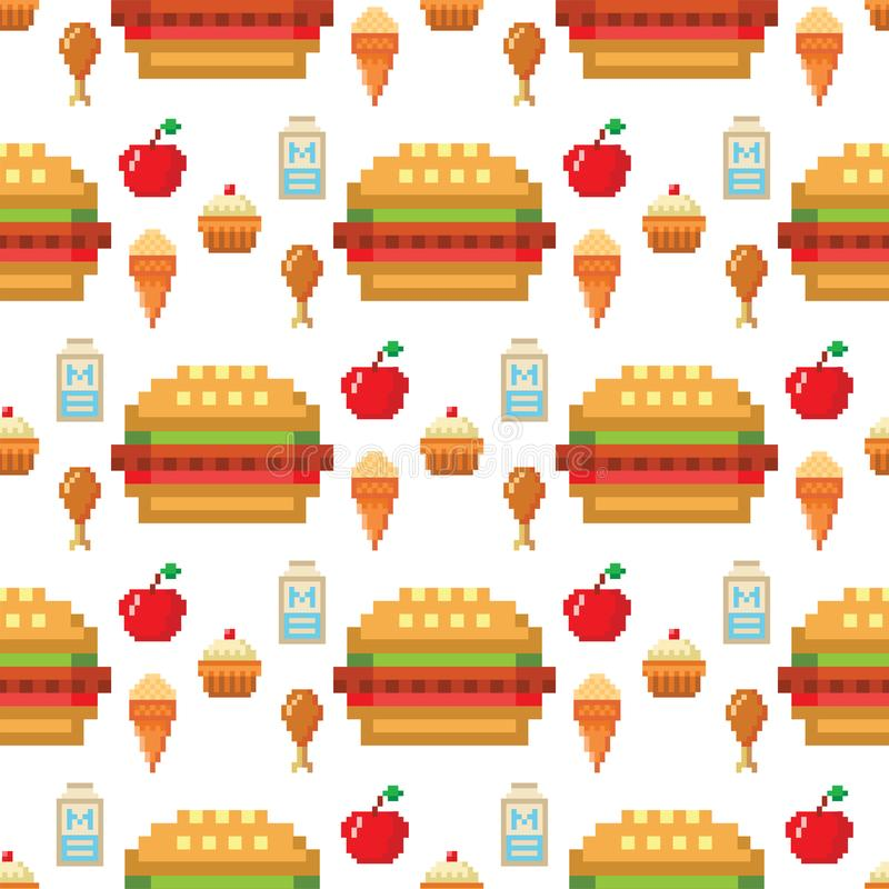 Le restaurant sans couture d'illustration de vecteur de fond de modèle de conception d'ordinateur de nourriture d'art de pixel pi illustration stock