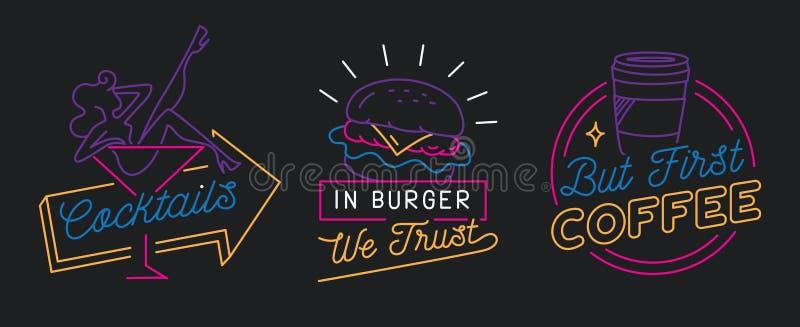 Le restaurant signent dedans la ligne vecteur de style illustration libre de droits