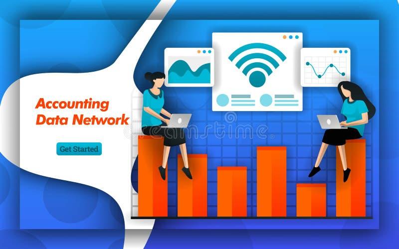 Le reti di wifi e di Internet lo rendono facile affinchè la rete di dati contabili determinino la contabilità di costo e la piani illustrazione di stock