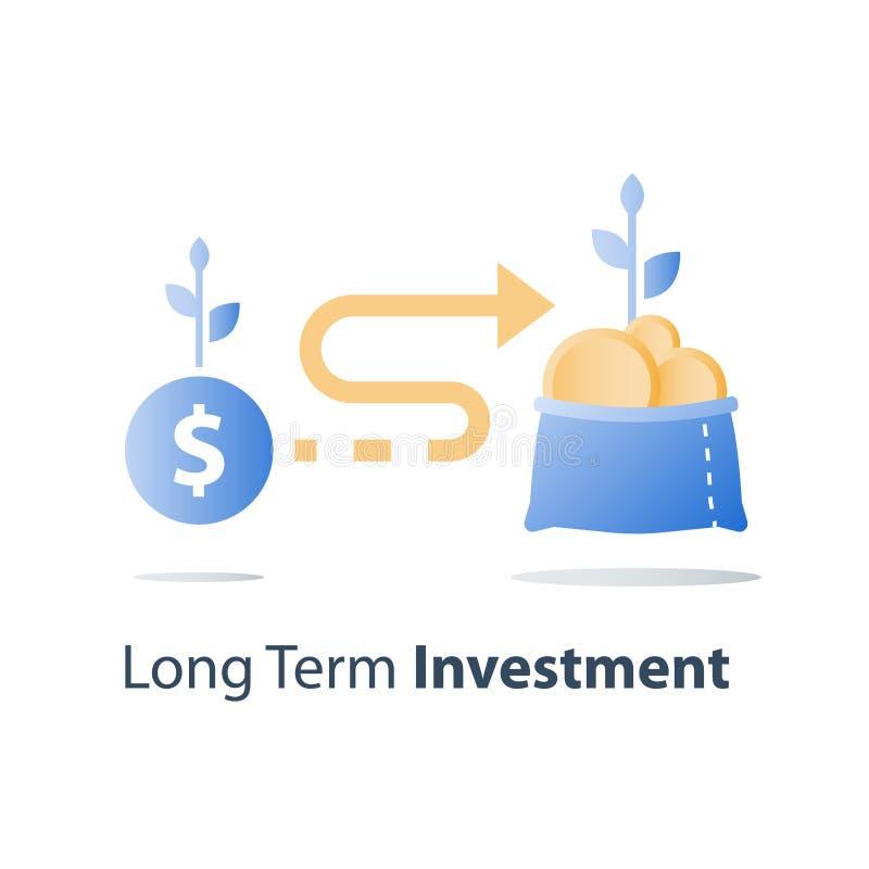Le retour sur l'investissement, budget prévoyant, prêt en espèces, gagnent plus d'argent, croissance de revenu, compte d'épargne  illustration de vecteur