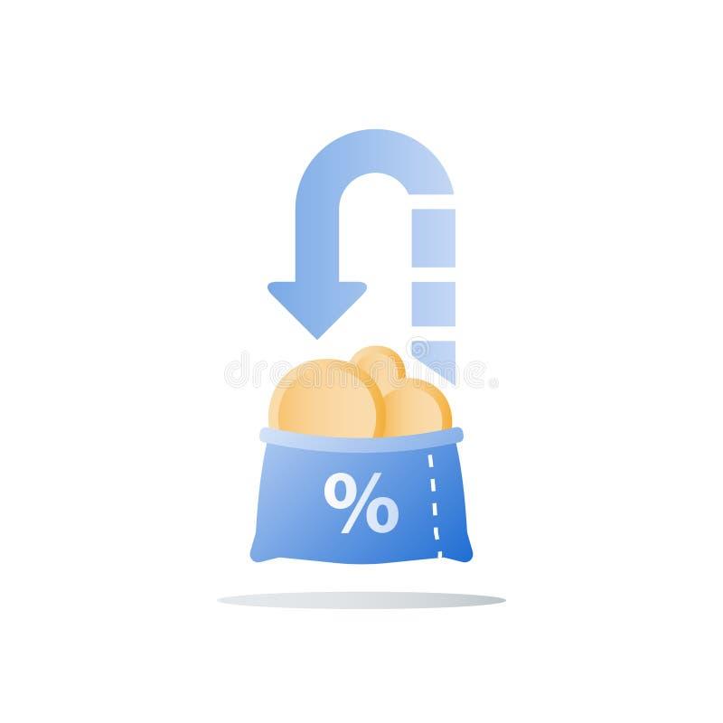Le retour sur l'investissement, budget prévoyant, prêt en espèces, gagnent plus d'argent, croissance de revenu, compte d'épargne  illustration stock