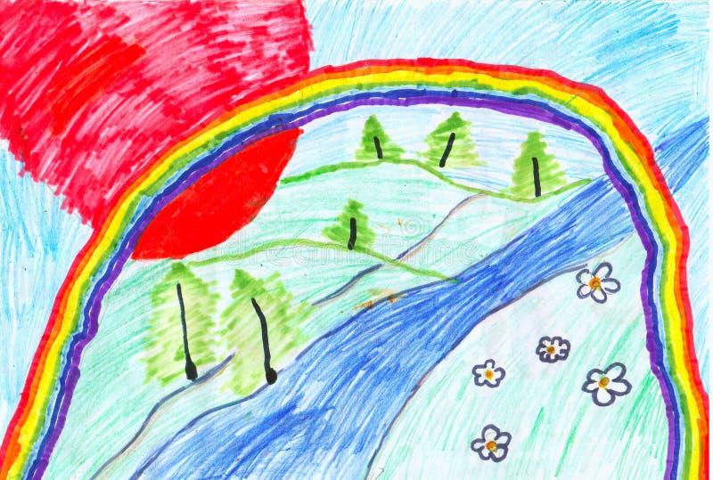 Le retrait des enfants d'un arc-en-ciel illustration libre de droits