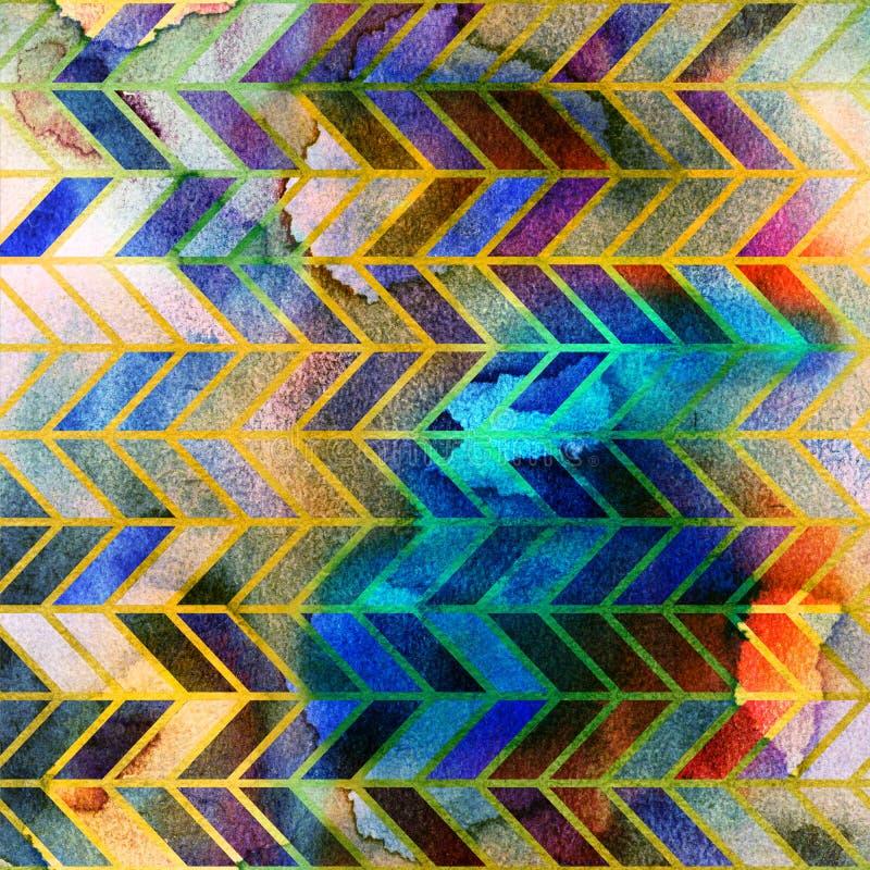 Le retro costole acquerelle senza cuciture 60s riscaldano il modello illustrazione vettoriale