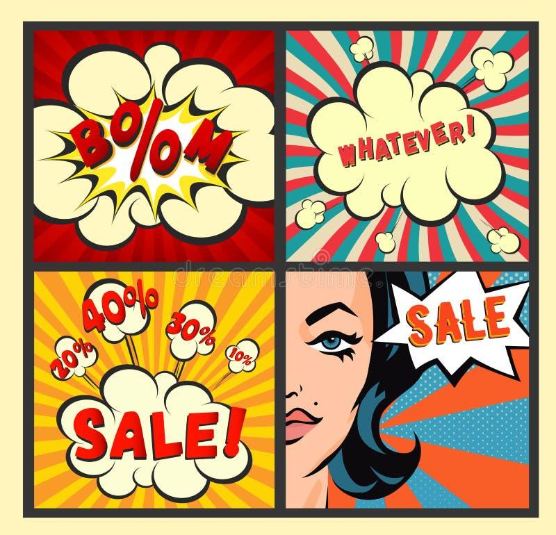 Le retro insegne di vendita hanno messo sugli ambiti di provenienza variopinti dei raggi Manifesti d'annata di vendita-fuori Espl royalty illustrazione gratis