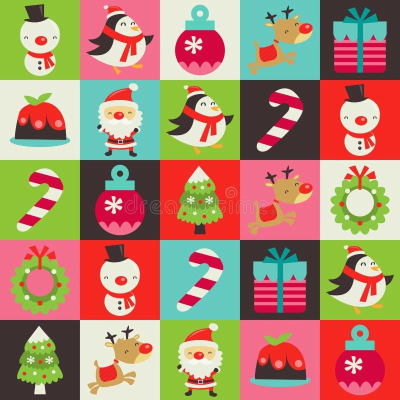 Le retro mattonelle sveglie di Natale modellano il fondo illustrazione di stock