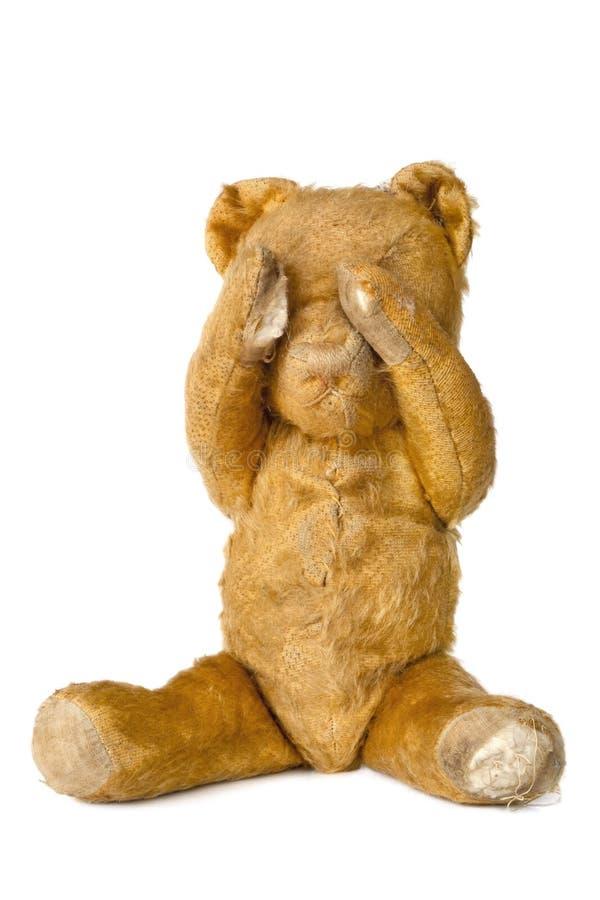 Le revêtement d'ours de nounours de cru observe, au-dessus du blanc photo stock