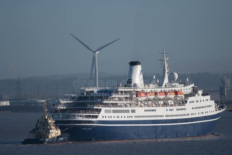 Le revêtement Marco Polo de croisière arrive au dock d'Avonmouth photos libres de droits
