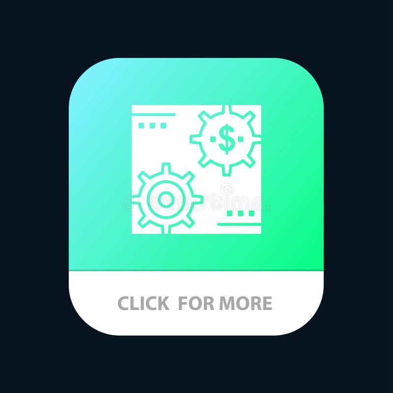 Le revenu, capital, revenus, font, faisant, argent, bouton mobile d'appli de bénéfice Android et version de Glyph d'IOS illustration de vecteur