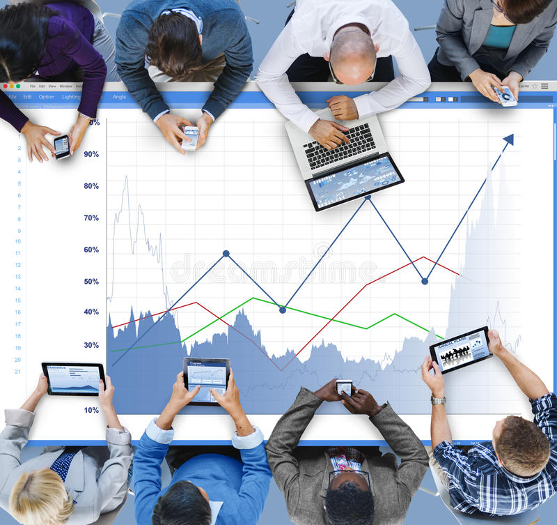 Le revenu d'augmentation de ventes d'affaires partage le concept images libres de droits