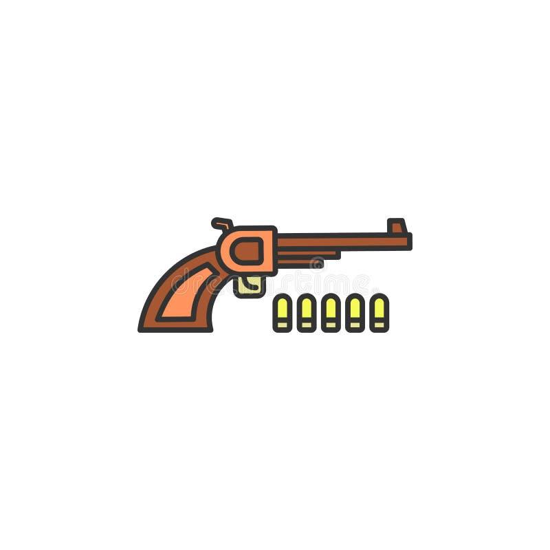 le revolver et les cartouches ont coloré l'icône Élément d'icône occidentale sauvage pour les apps mobiles de concept et de Web R illustration stock