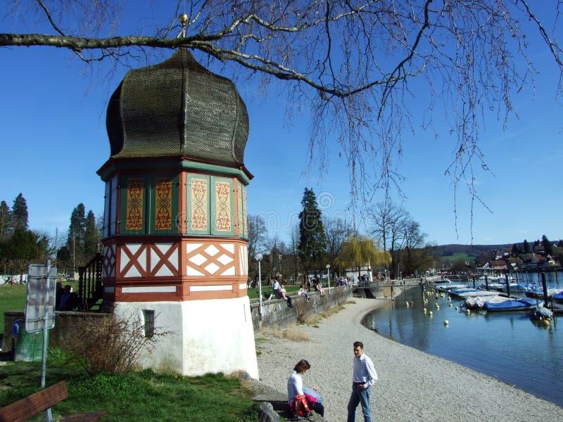 Le Rhin dans la ville de Stein am Rhein photos libres de droits