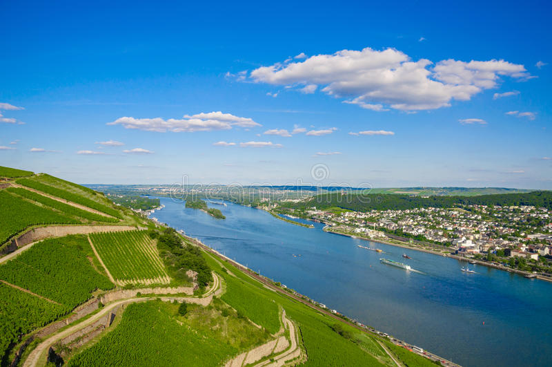 Le Rhin près de Bingen AM Rhein, Rhénanie-Palatinat, Allemagne images libres de droits