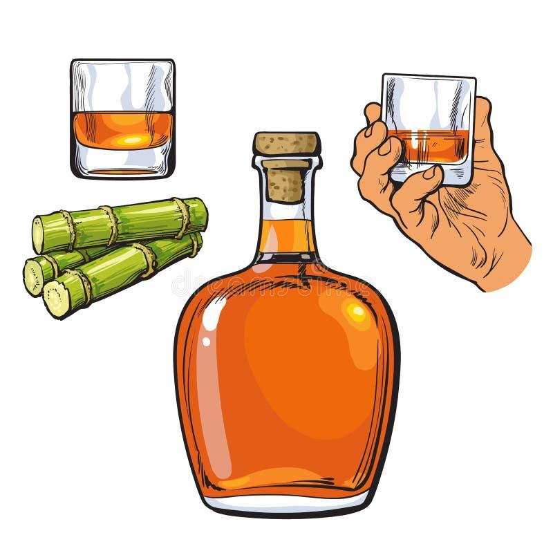 Le rhum s'est gonflé la bouteille, main tenant le verre à liqueur et la canne à sucre illustration stock