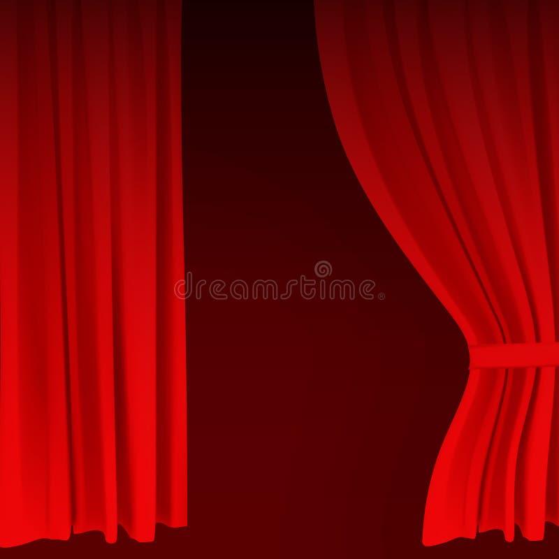Le rideau rouge coloré réaliste en velours s'est plié Rideau en option à la maison dans le cinéma Illustration de vecteur illustration de vecteur