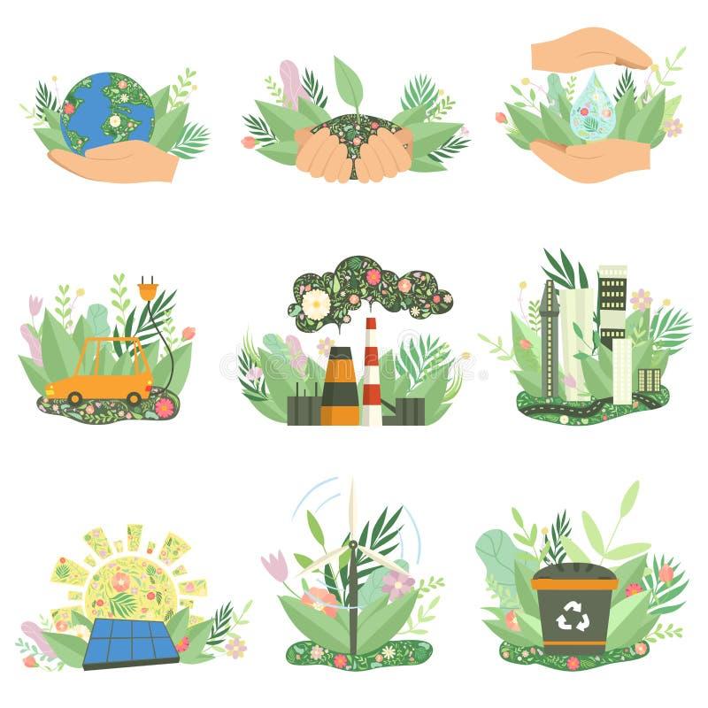 Le risorse energetiche di protezione dell'ambiente, di alternativa e di energia rinnovabile firma l'insieme, illustrazione di vet illustrazione di stock