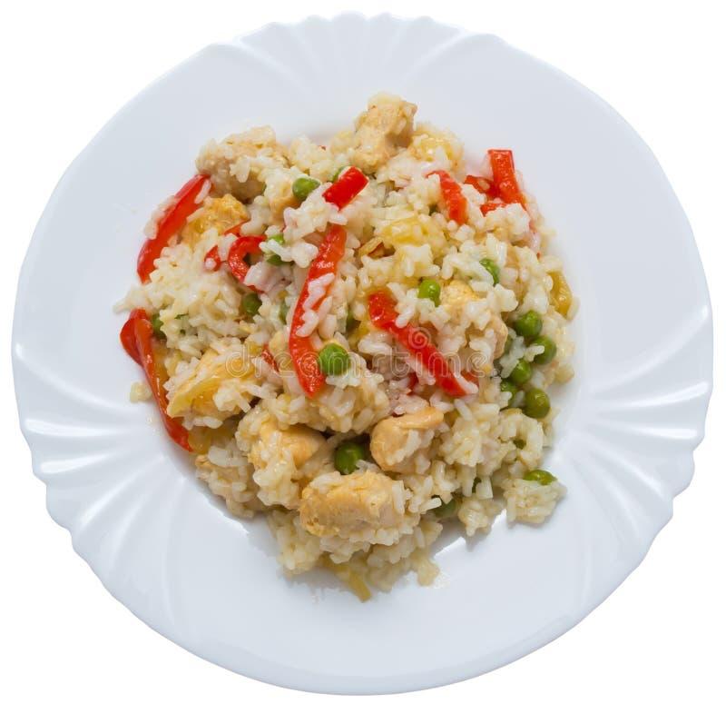 Le riz avec chiken et des légumes photos stock
