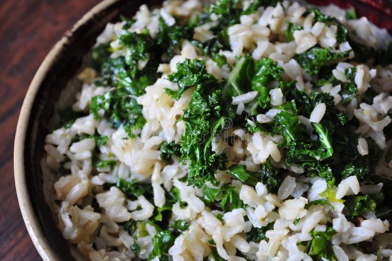 Le riz brun et les veggies sont sains photo stock