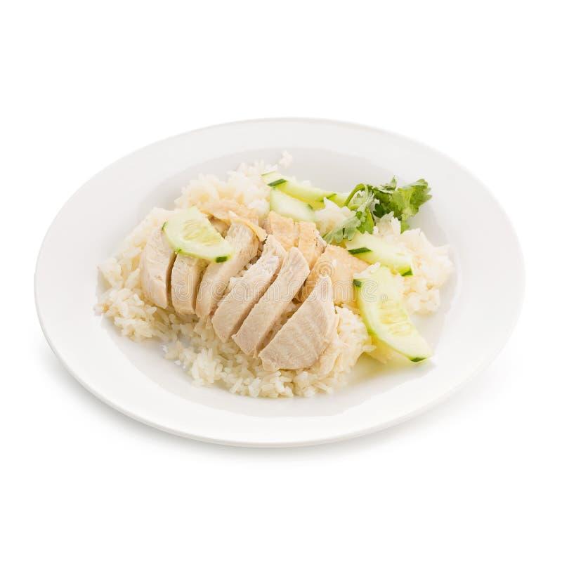 Le riz de poulet de Hainanese, gourmet thaïlandais a cuit le poulet à la vapeur avec du riz photos libres de droits