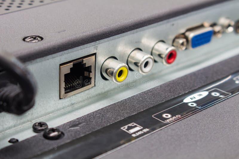 Le RJ45 a entré des connecteurs de TV futée, le panneau d'entrée de Télévision à Haute Définition images libres de droits