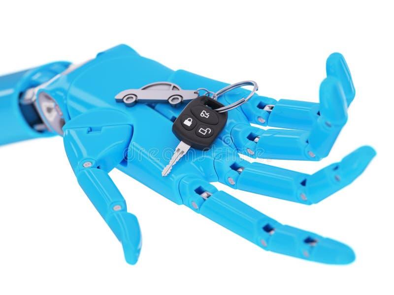 Le robot avec la voiture verrouille le concept intelligent d'illustration du véhicule autonome 3d illustration stock