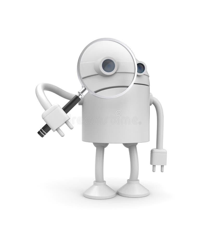 Le robot avec magnifient la glace illustration stock