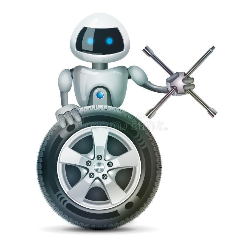 Le robot avec une roue et une accolade de roue, vecteur illustration de vecteur