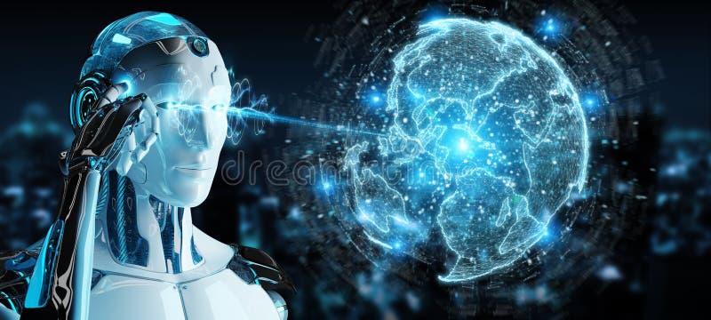Le robot blanc utilisant l'hologramme de réseau de globe avec l'Amérique Etats-Unis tracent 3D illustration libre de droits