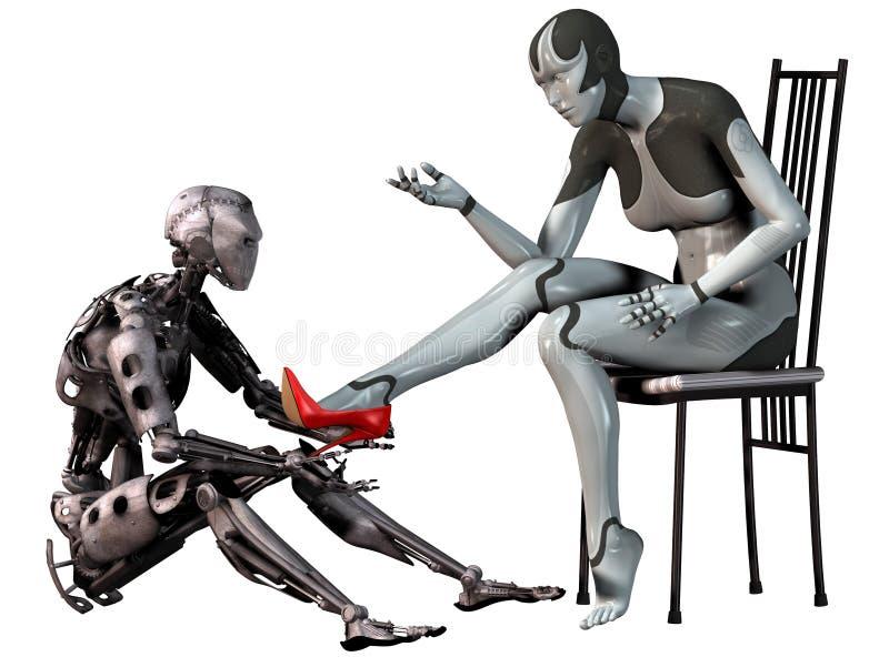 Le robot Cendrillon, homme androïde essaye une chaussure rouge de talon haut dans le pied d'une femme androïde, l'illustration 3d illustration de vecteur