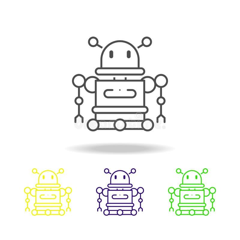 le robot a coloré des icônes Élément d'illustration de la science Illustration au trait mince pour la conception de site Web et l illustration libre de droits