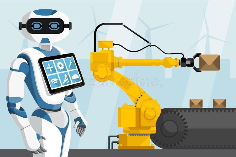 Le robot commande le robot de manipulation illustration de vecteur