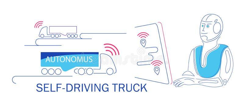 Le robot conduit le camion autonome autopropuls? Transport d'innovation illustration stock