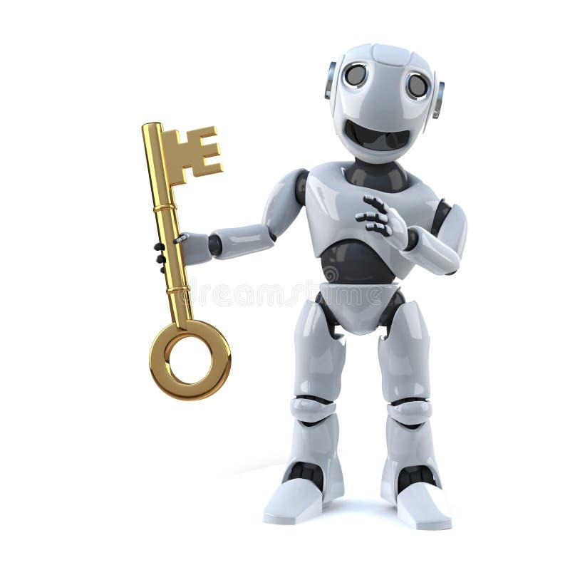 le robot 3d a la clé illustration de vecteur
