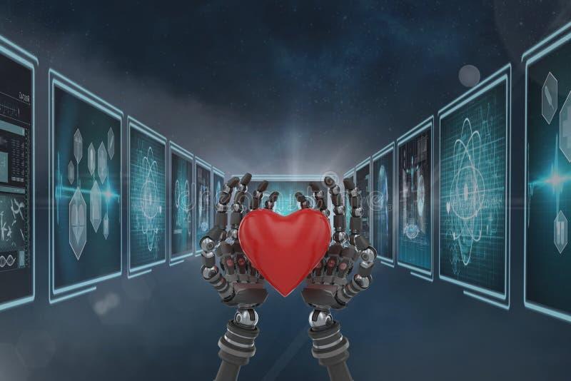 le robot 3D remet tenir un coeur sur le fond avec les interfaces médicales illustration de vecteur
