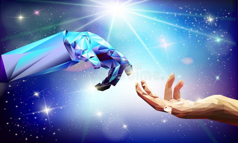 Le robot de main tient le premier rôle l'illustration de vecteur photo stock