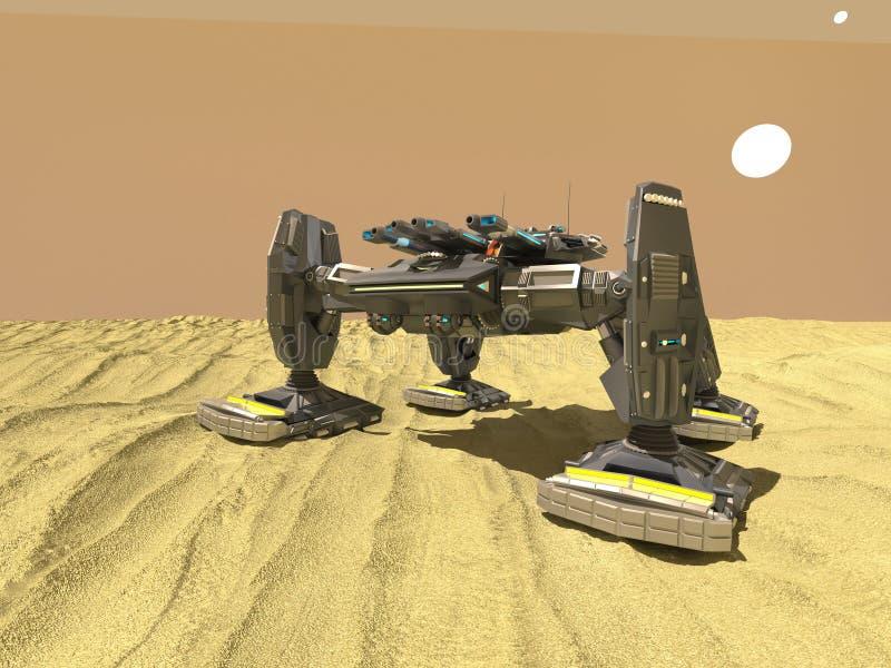 Le robot de réservoir dans le désert, 3d, rendent illustration de vecteur