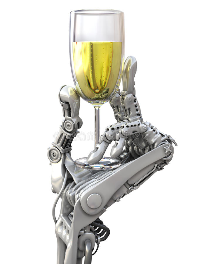 Le robot garde un verre de vin Illustration de vacances et de technologie illustration stock