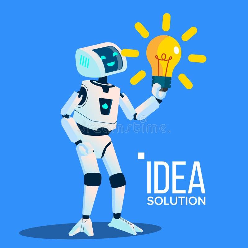 Le robot intelligent avec l'ampoule jaune trouvent une idée, vecteur de solution Illustration d'isolement illustration libre de droits