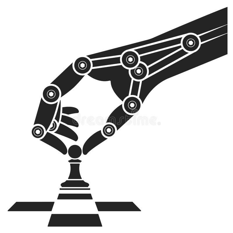 Le robot joue aux échecs Intelligence artificielle d'icône illustration libre de droits